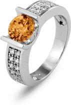 Silventi 943282882-58 Zilveren ring - Rond zirkonia 6 mm - Zilverkleurig / Champagne