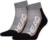 Head - Unisex 2-Pack Performance Quarter Sokken Grijs Zwart Oranje - 43-46