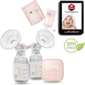 LittleBear – Dubbele Elektrische Borstkolf | BPA Vrij Kolf Apparaat | KolfSet Voor Moedermelk | Inclusief Zestig Moedermelk Bewaarzakjes en Kolfdagboek - Opbergzakjes & Speen | 180ml Baby Drinkfles | Late 2019 Edition