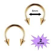Fako Bijoux® - Circular Barbell Piercing - Hoefijzer Spike - 8mm - Goudkleurig - 2 Stuks