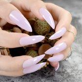 24 Stuks Punt Nepnagels Extreem Lang | Melkroze | Stiletto Nagels | Cosmetica Accessoires