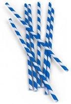 Papieren Rietjes Gestreept blauw (144 stuks)