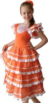 Spaanse jurk - Flamenco - Oranje/Wit - Maat 140/146 (12) - Verkleed jurk Koningsdag