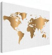 Wereldkaart Goud Stippen Canvas 80x60 cm | Wereldkaart Canvas Schilderij