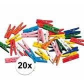 20 mini knijpers - 2 cm - gekleurd hout