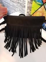 Kleine zwart suède  Leren tas met franjes Italiaanse gemaakt