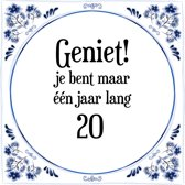 Verjaardag Tegeltje met Spreuk (20 jaar: Geniet! je bent maar ��n jaar 20! + cadeau verpakking & plakhanger