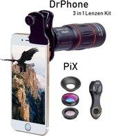 DrPhone PiX - 3 In 1 Premium lenzen Kit - 18X  Telephoto Lens,Macro,Wide Angle Lens - Smartphones / Tablets