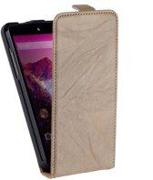 Vintage Flip Case Leder Cover Hoesje LG Nexus 5 Creme