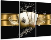 Glasschilderij Abstract   Zwart, Goud, Bruin   120x80cm 3Luik   Foto print op Glas    F004212