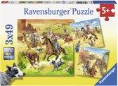 Ravensburger In het Wilde Westen Drie puzzels van 49 stukjes