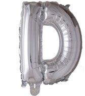 letterballon - 41 cm - zilver - D