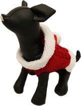 Gebreide kerst trui rood met wit voor de hond - L ( rug lengte 35 cm, borst omvang 34 cm, nek omvang 28 cm )