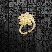 Biggdesign B.C. 3000 bloemenring, damesringen, authentieke sieraden, messing over verguld, messing ring, verstelbare ring