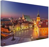 FotoCadeau.nl - Warschau bij nacht Canvas 120x80 cm - Foto print op Canvas schilderij (Wanddecoratie)