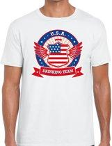 Wit USA drinking team t-shirt wit heren -  Amerika kleding M