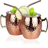 Bartails - Moscow Mule Bekers - 2 GRATIS RVS rietjes - 500 ml - Cocktail Bekers - Koperen Cocktail Bekers - Set: 2 Stuks - Cocktailset