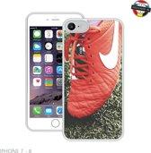 Nike Voetbal Schoenen | Handmade in Benelux | iPhone 7, 8 | Wit | Full Cover (TPU Hoesje + Screenprotector)