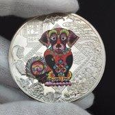Jaar van de hond gekleurde souvenir munt