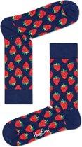 Happy Socks Strawberry Sokken - Donkerblauw/Rood - Maat 41-46