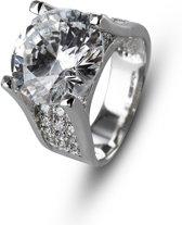 Silventi 943201813-52 Zilveren ring - Rond zirkonia 12 mm - Zilverkleurig
