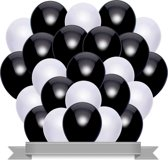 Ballonnen Set Metallic Zwart / Wit (20ST)