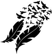 Muursticker veren met zwerm vogels - deur stikker - wandversiering - wanddecoratie - zwart - 57 x 58 cm