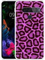 LG G8S ThinQ Hoesje Luipaard Paars Zwart