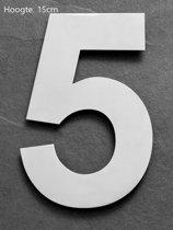 Huisnummer 15 cm RVS  Hoogte 15cm  Nummer 5