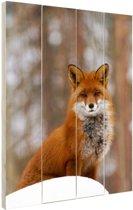 Rode vos in het bos Hout 80x120 cm - Foto print op Hout (Wanddecoratie)