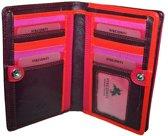 Visconti Dames Portemonnee - Compact Beugelportemonnee - Leer - Rainbow Collectie - Pruim-Multi (RB109 pl)