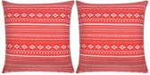 Kussenhoes canvas met aztekenprint rood 80x80 cm 2 st
