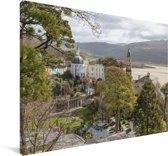 Het Welshe hotelresort Portmeirion in het Verenigd Koninkrijk Canvas 180x120 cm - Foto print op Canvas schilderij (Wanddecoratie woonkamer / slaapkamer) XXL / Groot formaat!