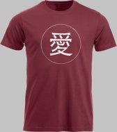 T-shirt M Chinese teken voor liefde in wit - Rood - M - S Sportshirt