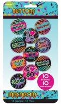 Jaren 80 buttons 10 stuks