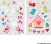 Lief! - Raamstickers - Vogeltjes - Roze - 2 sheets van 17,5 x 25cm