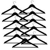10 (+ 1 GRATIS) zwarte houten kledinghangers van 44 cm breed met broeklat