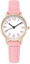Prachtig meisjes kinderhorloge - analoog - roze - Ø 23 mm - I-deLuxe verpakking
