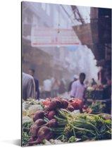 Schitterende foto op drukste markt van Oud Delhi Aluminium 60x90 cm - Foto print op Aluminium (metaal wanddecoratie)