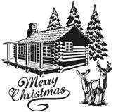 Raam / Decoratie sticker Merry Christmas blokhut kerstboom rendier 58 x 58 cm   Rosami