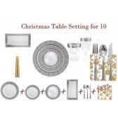 Deluxedisposables  -Luxe wegwerp eenmalig plastic tafel Serviesset voor 10 personen transparant-zilver + Decorative set : 20 servetten +kaarsen GRATIS !