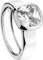 New Bling 943282876-56 - Zilveren Ring - met vierkante Zirkonia - 8 mm - Zilverkleurig