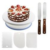 Taartplateau / Taartstandaard draaibaar voor decoratie set met 2 glaceermessen en 3 icing smoothers