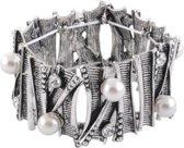 Brede elastische armband met parels en steentjes