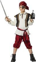 Piraat & Viking Kostuum   Rood Zwarte Piratenjongen Met Hoofddoek Kostuum   Maat 128   Carnaval kostuum   Verkleedkleding