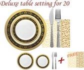 Deluxedisposables Luxe wegwerp plastic serviesset  - 20 personen - zwart met gouden boord