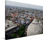 Prachtig overzicht over Oud Delhi in India Canvas 60x40 cm - Foto print op Canvas schilderij (Wanddecoratie woonkamer / slaapkamer)