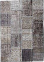 Vintage patchwork vloerkleed grijs/ bruin - Afmeting: 241 x 170