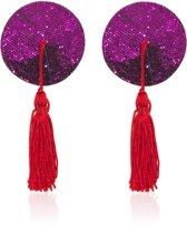 Pinch - Burlesque round diamond Purple/Red - Ronde tepelkwastjes Paars/Rood - tepelversiering - nipple tassels