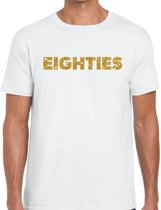 Eighties goud glitter tekst t-shirt wit heren - Jaren 80/ Eighties kleding L